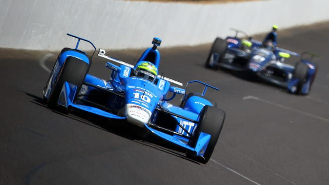 Tony Kanaan drives on Carb Day at Indianapolis Motorspeedway on Friday.