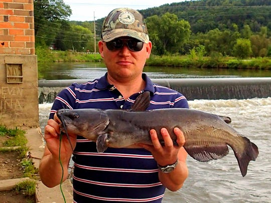 Eddie Rivard with a catfish caught in September 2014 at the Gays Mills dam.