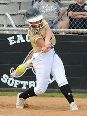 Abilene High's Addison Kyker hits a line drive to right