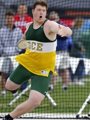 D.C. Everest's Zach Mueller competes in the Division 1 boys discus competition on the second day of the WIAA state track and field meet in La Crosse.
