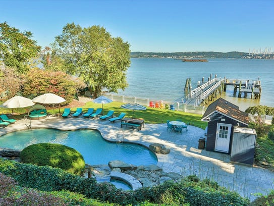 A view of the riverfront pool at 1 Gesner Ave. in South Nyack, part of Rosie O'Donnell's compound.