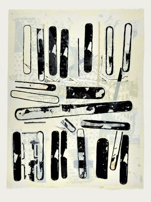 """""""Mistaken in Charlevoix IV"""" is a lithograph by UTEP associate professor Kim Bauer."""