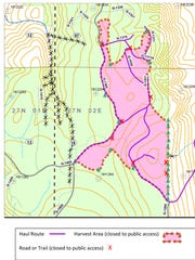 Pope Resources' map of trail closures for the upcoming timber harvest in Kitsap County's Port Gamble North Kitsap Heritage Park.