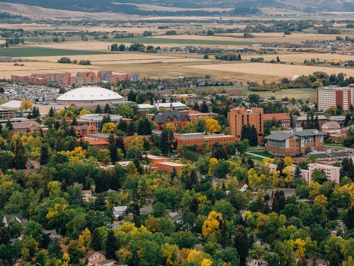 Aerial view of Montana State University, Bobcat Stadium,