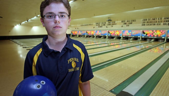 Nick Perrone, a two-handed bowler is the bowler of the year. Perrone was photographed at Cortlandt Lanes in Cortlandt Manor on March 30, 2016.