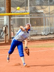 Cavegirls junior third baseman Mackenzie Pineda throws