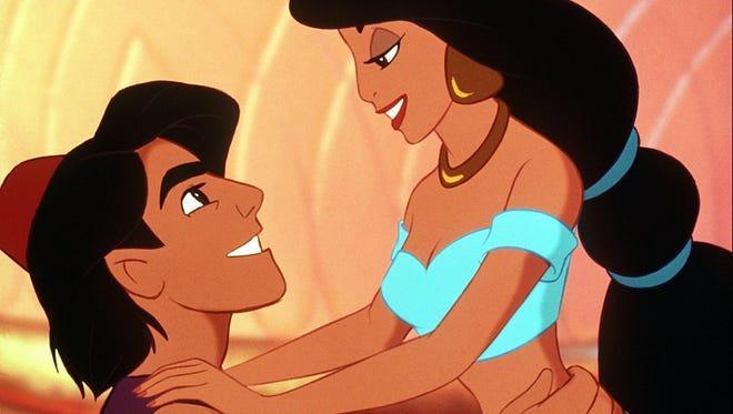 "Princess Jasmine and Aladdin in Disney's 1992 animated classic ""Aladdin."""