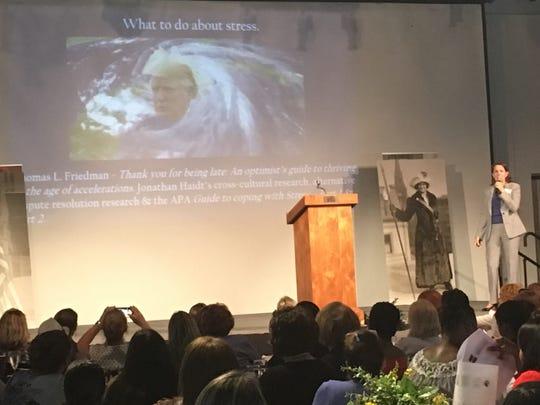 "Deborah Coe Silver gives the ""political overload"" presentation,"
