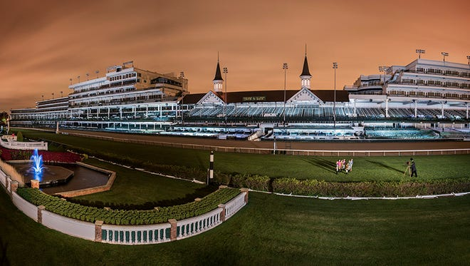 """The """"Big Shot"""" shows Churchill Downs lighted by nearly 2,000 volunteers Saturday, Oct. 3, 2015."""