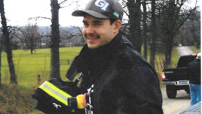Matthew Hutchinson in his Geneseo Fire Department gear.