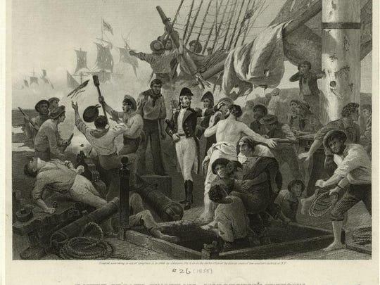 Commodore Macdeonough aboard Saratoga by Aloonzo Chappell