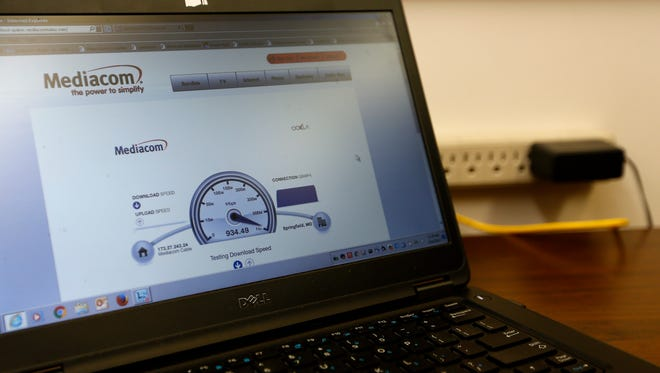 Mediacom shows off the speed of its internet service using a speed test after it introduced gigabit internet service on Wednesday, July 24, 2017.