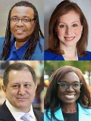 Adam McFadden (top left), Rachel Barnhart (top right), Joseph Morelle (bottom left) and Robin Wilt (bottom right) are on the ballot for the June 26 Democratic primary.