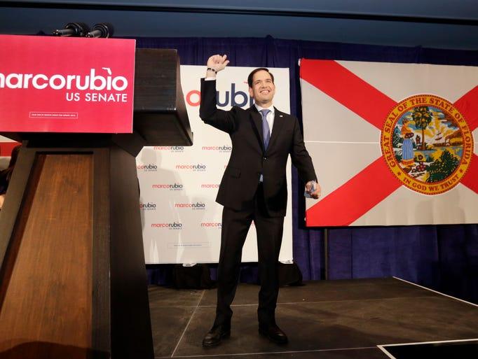 Florida Republican Sen. Marco Rubio acknowledges the