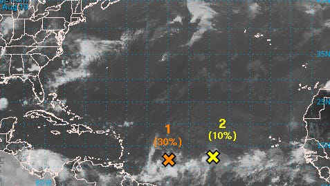 There are two tropical disturbances in the Atlantic.