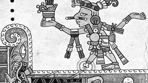 "This image from the rare Aztec manuscript ""Codex Fejérvary-Mayer"" shows a shark swimming away after biting off the foot and lower leg of the god Xochipilli."
