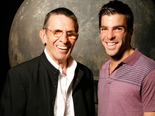 Leonard Nimoy, left, and Zachary Quinto, pictured together at the Griffith Observatory in Los Angeles in 2007.