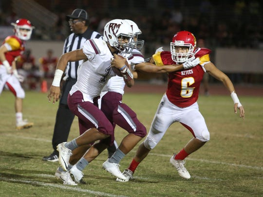 Rancho Mirage running back Marques Prior runs against Palm Desert , September 15, 2017.