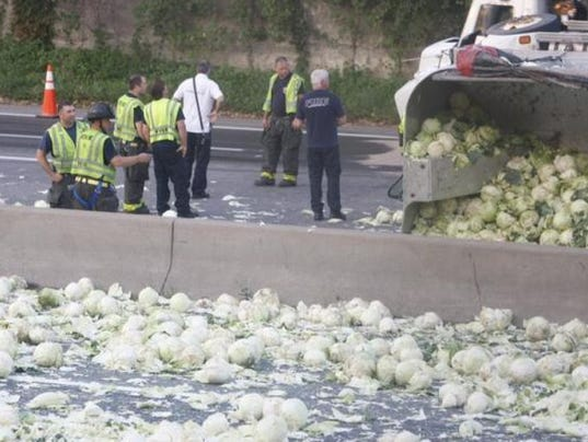 A Cabbage Truck Took A Major Spill In Rochester And It Was