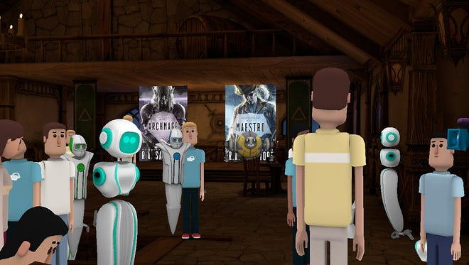 A crowd of avatars listens to author R.A. Salvatore in AltspaceVR.