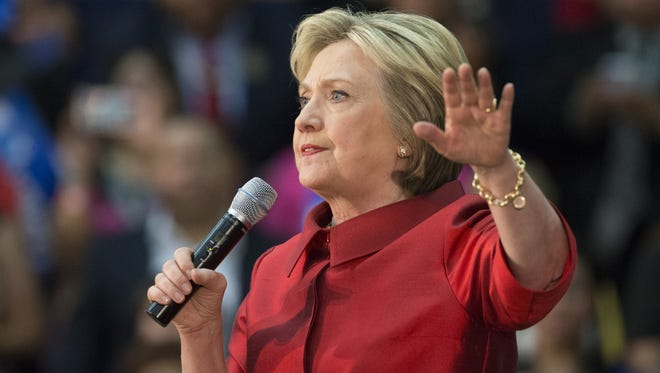Presidential candidate Hillary Clinton speaks at Carl Hayden Community High School in Phoenix on Monday.