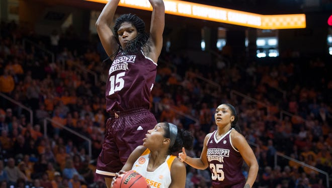 Tennessee's Jordan Reynolds attempts to score while defended by Mississippi State's Teaira McCowan at Thompson-Boling Arena on Sunday, January 8, 2017. Tennessee lost to Mississippi State, 73-64.