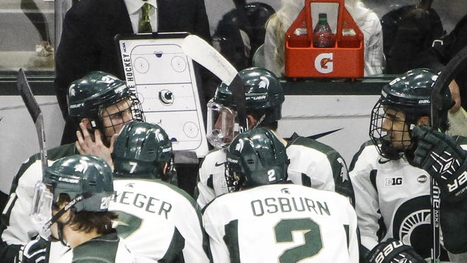 MATTHEW DAE SMITH/for the Lansing State Journal MSU hockey coach Tom Anastos, here coaching his team last month, is optimistic about his program despite little progress in the on-ice results. MSU hockey coach Tom Anastos, here coaching his team last month, is optimistic about his program despite a little progress in the on-ice results.