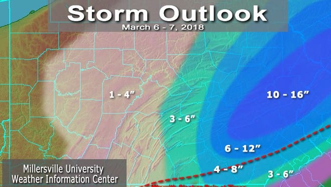 York County is looking at 4 to 8 inches of snow on Wednesday from a nor'easter. Isolated spots might see a foot.