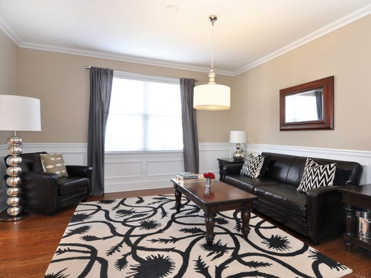 """The living room of the Eastchester """"dream house"""" to"""
