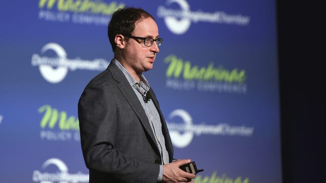 In this May 28, 2015, file photo Nate Silver gives his keynote address during the Mackinac Policy Conference on Mackinac Island, Mich.