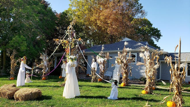 """This Halloween display is entitled """"Midsummer,"""" and can be seen at the corner of Empire Street and Park Boulevard in Freeport."""