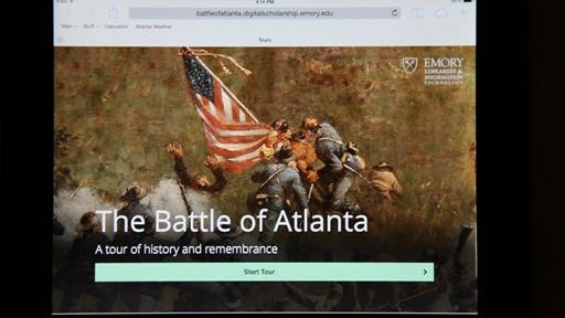 The Battle of Atlanta mobile app's start page from an iPad is seen in Atlanta. Emory University's Center for Digital Scholarship released a web-based, GPS enhanced app for mobile devices to honor the 150th anniversary of the historic Battle of Atlanta. The app is a tour of the 12 most significant battle events that began Tuesday.