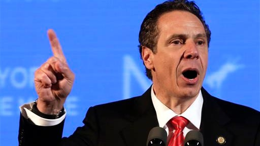 N.Y. Gov. Andrew Cuomo delivers his nomination acceptance speech at the state's Democratic Convention, in Melville, N.Y., Thursday, May 22, 2014. (AP Photo/Richard Drew)