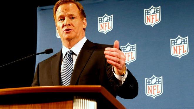 NFL commissioner Roger Goodell addresses the media Friday at a press conference.