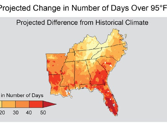 Projected change in number of days over 95 degrees.