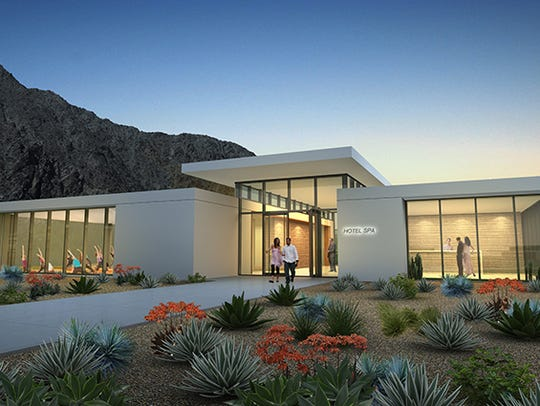 An architectural rendering of the proposed spa center at SilverRock in La Quinta. Two hotels at the location are expected to open in 2020.