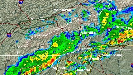 National Weather Service radar shows storms moving through the Upstate.