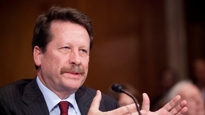 FILE - In this Nov. 17, 2015 file photo, Dr. Robert Califf, President Barack Obama's nominee to lead the Food and Drug Administration (FDA), testifies on Capitol Hill in Washington.