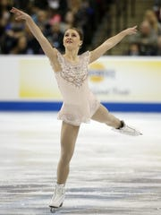Hannah Miller performs in the women's free skate program of the U.S. Figure Skating Championships in Minnesota last month.