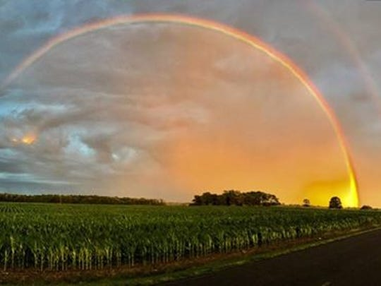 Eric Campbell sent us this photo of the rainbow colliding with the setting sun.