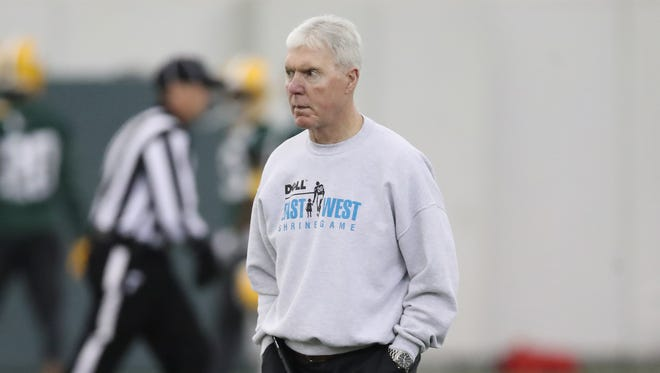 Green Bay Packers general manager Ted Thompson watches during practice inside the Don Hutson Center Wednesday, November 15, 2017 in Ashwaubenon, Wis.