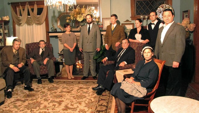 "Starring in the Elmira Little Theatre production of ""And Then There Were None"" are, from left, John Olcott, Irving cook, Suzy Achey, Alan Caum, Robert Lavarnway, Greg Fusare, Casey Winston, Greg Shepard, Gail Lewis and Charlie Rizzo."