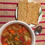 Mom's Cabbage Soup with homemade oatmeal bread