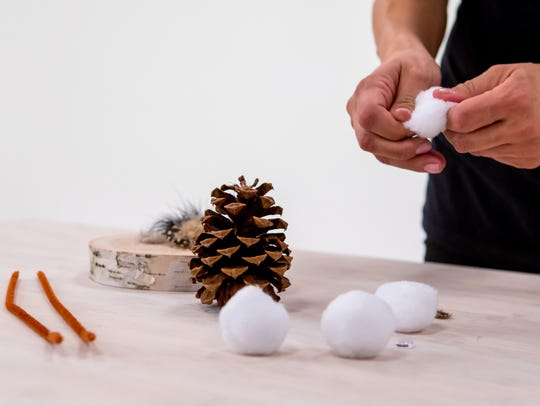 The supplies you'll need to make your own pinecone