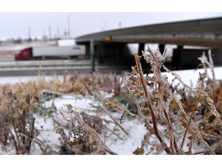 Frozen weeds and grass line Interstate 20 at the Westlake