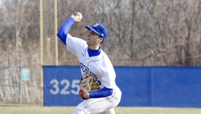 Mike Limoncelli delivers a pitch for Horseheads during a win over Union-Endicott on April 13 at Horseheads High School.