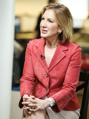 Republican presidential candidate Carly Fiorina in The Des Moines Register newsroom on Thursday May 7, 2015.