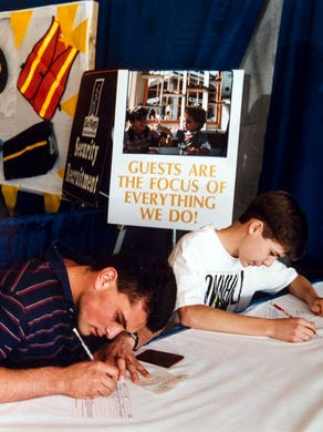 1993: Byron Batras, 17, and Jonothan Nadig, 16, both of Yardley, Pa., fill out applications for security or operations jobs at Six Flags Great Adventure.