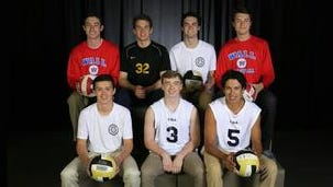The 2016 Asbury Park Press All-Shore Boys Volleyball Team of: (back row) Brady Donahue, Brian Ross, Liam Maxwell and Nick Palluzzi; (front row) Brennan Davis, Matt Kelly and John Arege.