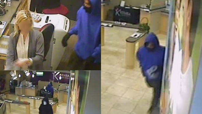 Surveillance photos of robbery suspects.